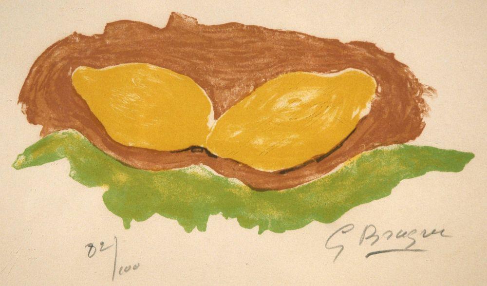 Lithographie Braque - Les citrons