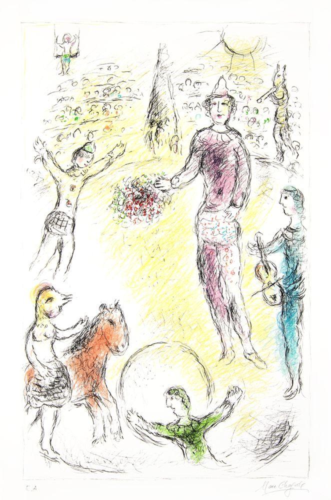 Lithographie Chagall -  Les Clowns Musiciens (Musical Clowns)