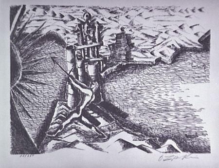 Lithographie Zadkine - Les Colonnes d'Hercule