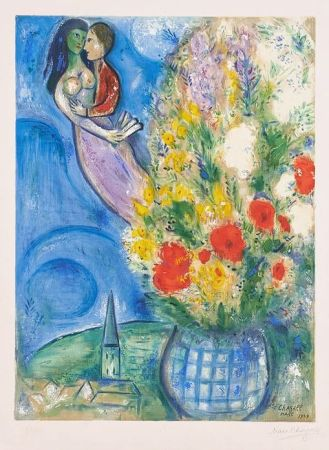 Lithographie Chagall - Les Coquelicots (Red Poppies)