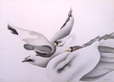 Lithographie Donadini - Les cygnes