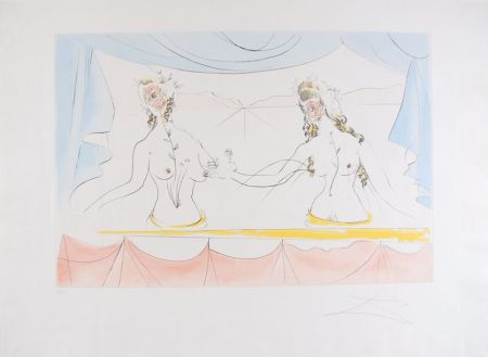 Eau-Forte Dali - Les Dames de la Renaissance - Ladies of the Renaissance (suite Mythologique Nouvelle/New Mythological)