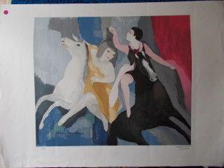 Lithographie Laurencin - Les danseuses équestre