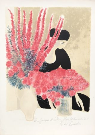 Lithographie Brasilier - Les Deux Bouquets