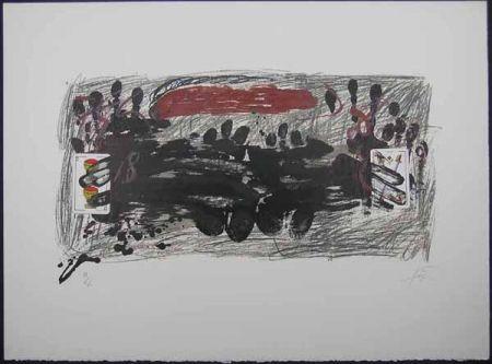 Lithographie Tàpies - Les Deux cartes