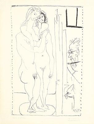 Lithographie Picasso - Les deux modèles nus