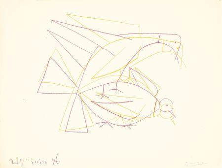 Lithographie Picasso - Les deux tourterelles doubles