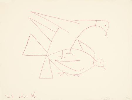 Lithographie Picasso - Les deux tourterelles, I