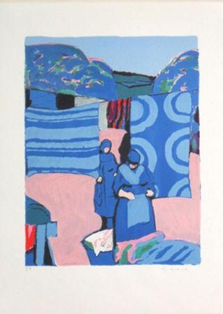 Lithographie Godard - Les draps bleus