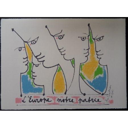 Lithographie Cocteau - Les fondateurs de l'Europe