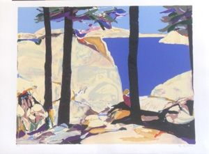 Lithographie Godard - Les grands arbres