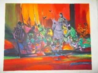Lithographie Mouly - Les guerriers rouges