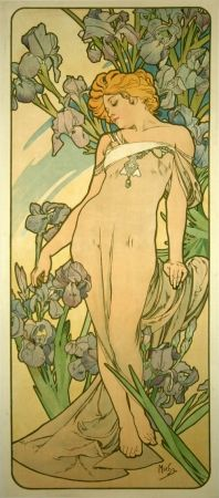Lithographie Mucha - Les Iris