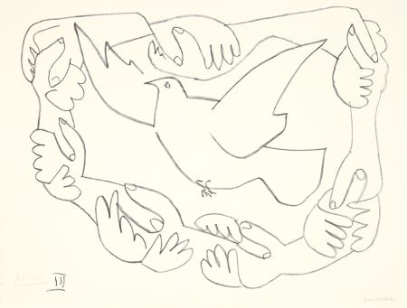 Lithographie Picasso - Les mains liées III