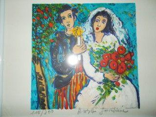 Lithographie Sorkine - Les mariés a la bougie