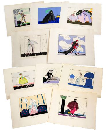 Livre Illustré Brunelleschi - LES MASQUES ET LES PERSONNAGES DE LA COMÉDIE ITALIENNE, expliqués par Gérard d'Houville, et interprétés par Brunelleschi, en douze estampes coloriées (1914)