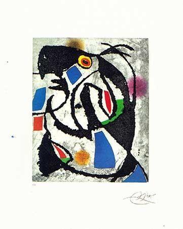 Gravure Miró - Les montagnards