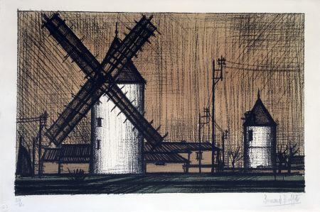 Lithographie Buffet - Les Moulins