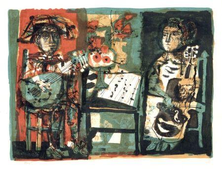 Lithographie Clavé - Les musiciens