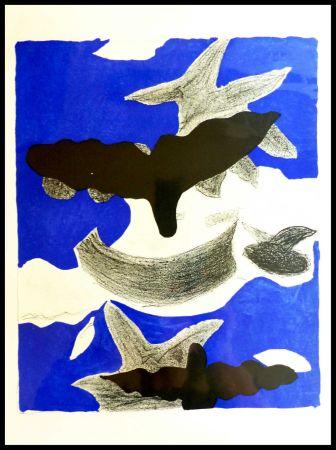 Lithographie Braque (After) - LES OISEAUX FOND BLEU