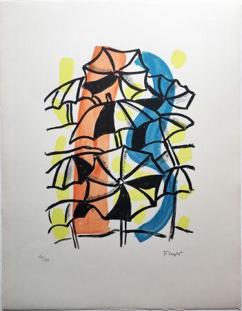 Lithographie Leger - LES PARAPLUIES (La Ville, 1959)