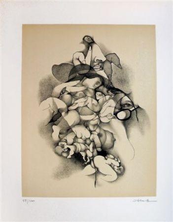 Lithographie Daboval - Les phantasmes de Berthe