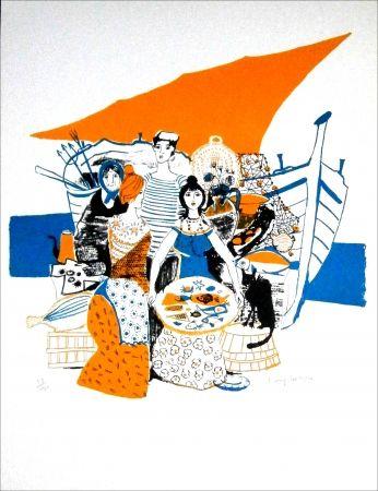Lithographie Lartigue - Les Poissons