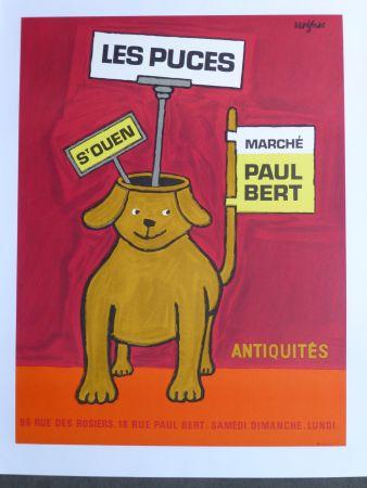 Affiche Savignac - Les puces de Saint Ouen
