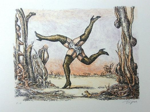 Lithographie Topor - Les quatre jambes