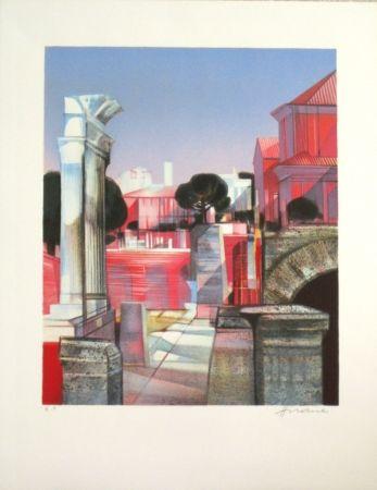 Lithographie Hilaire - Les ruines romaines