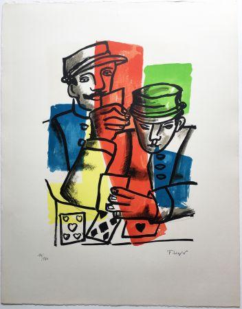 Lithographie Leger - LES SOLDATS ou LES JOUEURS DE CARTES (La Ville, 1959).