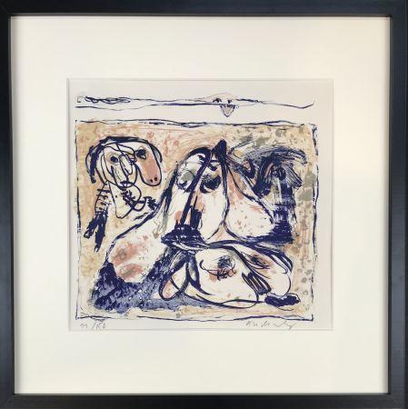 Lithographie Alechinsky - Les tireurs de langue, 1962