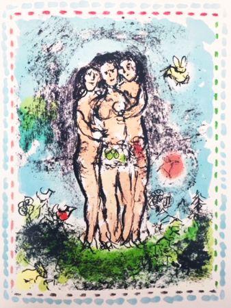 Lithographie Chagall - Les Trios Nus