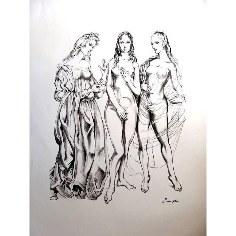 Lithographie Foujita - Les Trois Graces