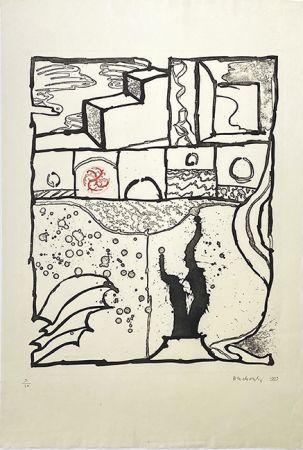 Gravure Alechinsky - Les trois marches