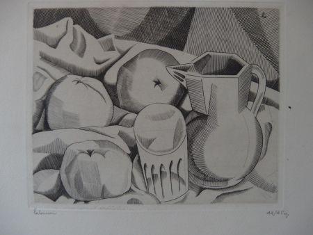Gravure Laboureur - Les trois pommes
