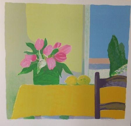 Lithographie Muhl - Les tulipes jaunes.