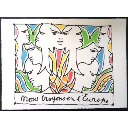 Lithographie Cocteau - Les Visage de l'Europe