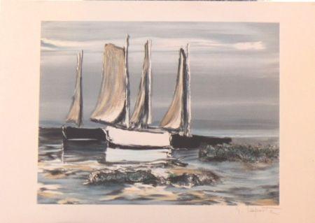 Lithographie Laporte - Les voiliers