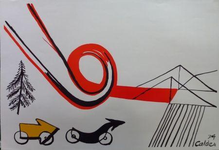 Lithographie Calder - Les voitures