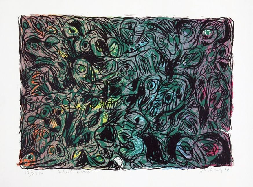Lithographie Alechinsky - Les yeux ouverts