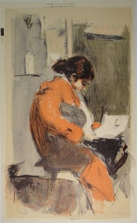 Lithographie Falk - Lesende in rotem Kimono