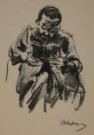 Lithographie Liebermann - Lesender Mann (Lesender Jude)