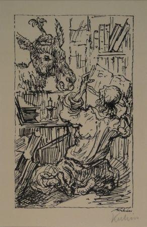 Lithographie Kubin - Lesender und Esel