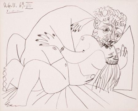 Lithographie Picasso - L'etreinte Vii