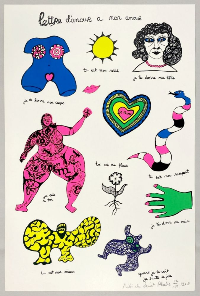Sérigraphie De Saint Phalle - Lettre d'amour à mon amour