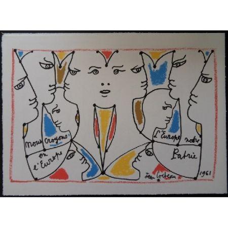 Lithographie Cocteau - L'europe multicolore