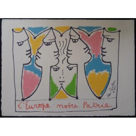 Lithographie Cocteau - L'Europe pont des civilisations