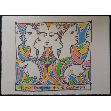 Lithographie Cocteau - L'Europe tournée vers le monde