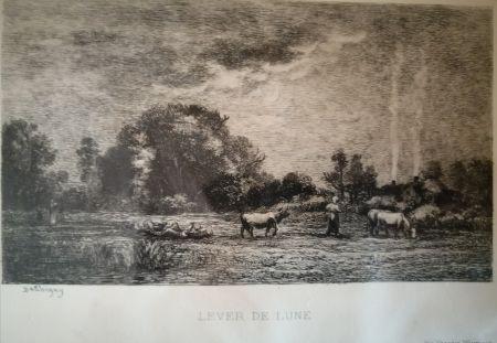 Eau-Forte Daubigny - Lever de lune